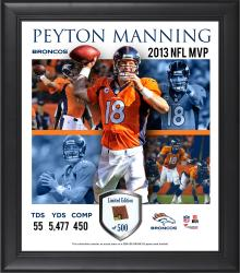 Peyton Manning Denver Broncos 2013 NFL MVP Framed 15'' x 17'' 4-Photo Collage with Game-Used Ball - Mounted Memories