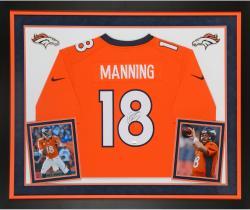Peyton Manning Denver Broncos Autographed Deluxe Framed Nike Limited Orange Jersey