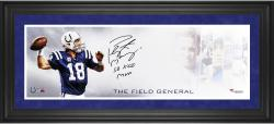 "Peyton Manning Indianapolis Colts Framed 10"" x 30"" Field General Photograph with SB XLI MVP Inscription-Limited Edition of 18"