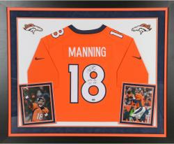 Peyton Manning Denver Broncos Autographed Deluxe Framed Nike Limited Orange Jersey with 55 REC TDS Inscription