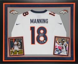 "Peyton Manning Autographed Broncos Limited Jeresy - ""TD"" Inscriptions, Deluxe Framed"