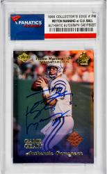 Peyton Manning Indianapolis Colts Autographed 1999 Collectors Edge #PM Card with Piece of Game-Worn Ball - Mounted Memories