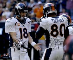 Peyton Manning & Julius Thomas Denver Broncos Dual Autographed 16'' x 20'' Photograph with TD #51 12/22/13 Inscription - Mounted Memories