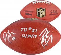 Peyton Manning & Julius Thomas Denver Broncos Dual Autographed Duke Pro Football with TD #51 12/22/13 Inscription - Mounted Memories