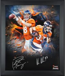 Peyton Manning & Wes Welker Denver Broncos Framed Autographed 20'' x 24'' In Focus Photograph - Mounted Memories