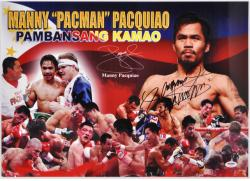Manny Pacquiao Autographed 15'' x 21'' Fight Collage Photograph - Mounted Memories