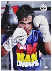 Manny Pacquiao Autographed 15'' x 21'' Speed Bag Photo Phototgraph - Mounted Memories