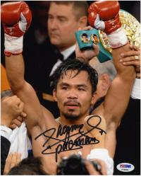 Manny Pacquiao Autographed 8'' x 10'' Arms In Air Photograph - Mounted Memories