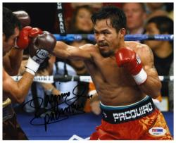 Manny Pacquiao Autographed 8'' x 10'' Fighting Oscar De Lay Hoya Photograph - Mounted Memories
