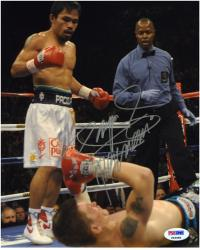 Manny Pacquiao Autographed 8'' x 10'' Knock Down Referee Photograph - Mounted Memories