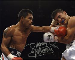 Manny Pacquiao Autographed 8'' x 10''  Opponents Eye Closed Photograph - Mounted Memories