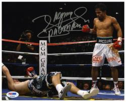 Manny Pacquiao Autographed 8'' x 10'' vs. Rick Hatton Knock Down Photograph - Mounted Memories