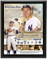"Mickey Mantle New York Yankees 7- Time World Series Sublimated 10"" x 13"" Player Collage Photo Plaque - Mounted Memories"