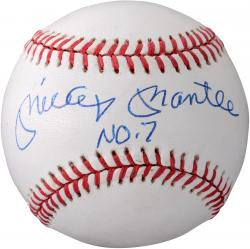 Mickey Mantle New York Yankees Autographed American League Baseball with #7 Inscription