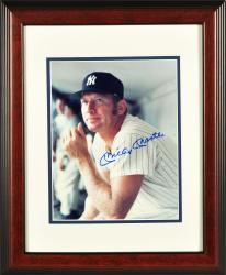 Mickey Mantle New York Yankees Autographed Framed 8'' x 10'' Yankee Dugout Photograph - Mounted Memories