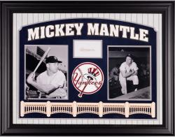 Mickey Mantle New York Yankees Deluxe Horizontal Framed Collectible with 3'' x 5'' Autographed Cut