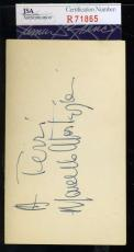 Marcello Mastroianni Jsa Coa Hand Signed 3x5 Index Card Authenticated Autograph