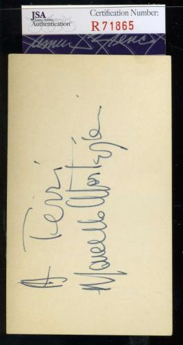 Marcello Mastroianni Jsa Coa Hand Signed 3x5 Index Card Authenticated Autograph
