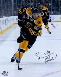 "Brad Marchand Boston Bruins Autographed 16"" x 20"" Vertical Black Uniform Skating Photograph"
