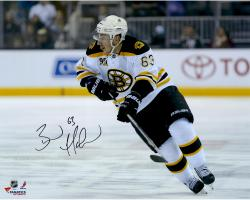 "Brad Marchand Boston Bruins Autographed 16"" x 20"" White Uniform Skating Photograph"