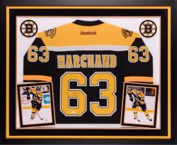 Brad Marchand Boston Bruins Autographed Deluxe Framed Reebok Premier Jersey
