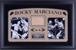 Framed Rocky Marciano Autographed 4x6 Cut Collage