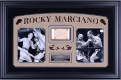 Framed Rocky Marciano Autographed 3x5 Cut Collage