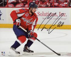 """Marcus Johansson Washington Capitals Autographed Red Jersey Stopping 8"""" x 10"""" Photograph"""