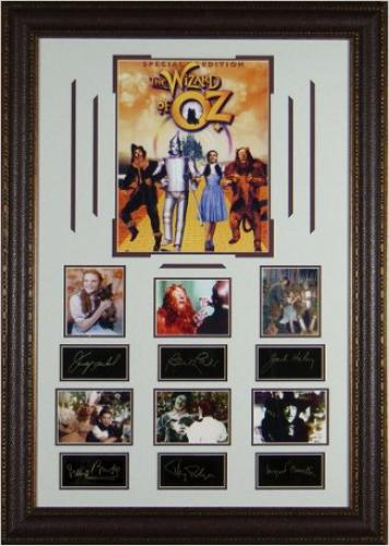 Margaret Hamilton unsigned The Wizard of Oz 27x39 Engraved Series Leather Framed 7 Photos w/Cast (entertainment)