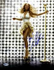 """Mariah Carey Autographed 11"""" x 14"""" Standing with Gold Microphone Photograph - Beckett COA"""