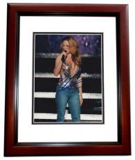 Mariah Carey Autographed 8x10 Concert Photo MAHOGANY CUSTOM FRAME