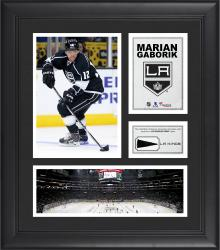 """Marian Gaborik Los Angeles Kings Framed 15"""" x 17"""" Collage with Piece of Game-Used Puck"""
