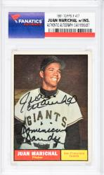 Juan Marichal San Francisco Giants Autographed 1961 Topps #417 Card with Dominican Dandy Inscription - Mounted Memories  - Mounted Memories
