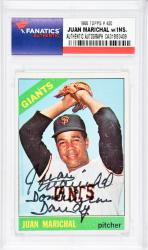 Juan Marichal San Francisco Giants Autographed 1966 Topps #420 Card with Dominican Dandy Inscription - Mounted Memories  - Mounted Memories