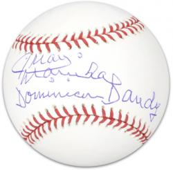 Juan Marichal Autographed Baseball with Dominican Dandy Inscription - Mounted Memories