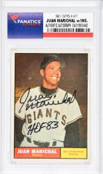 Juan Marichal San Francisco Giants Autographed 1961 Topps #417 Card with HOF 83 Inscription - Mounted Memories  - Mounted Memories