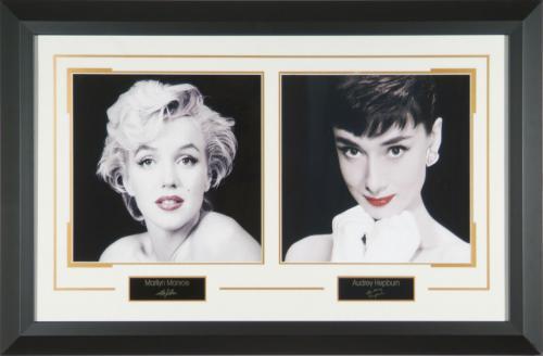 Marilyn Monroe & Audrey Hepburn Red Lips Framed Art Prin