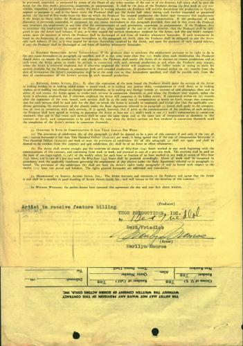 Marilyn Monroe Signed Autographed 1950 Contract The Fireball Movie Beckett BAS