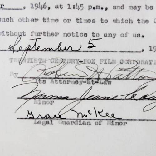 Marilyn Monroe Signed Movie Contract (Norma Jeane Dougherty) 1946 20th Century Fox (Approval) – JSA Full LOA