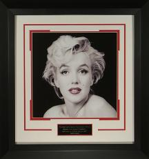 Marilyn Monroe unsigned 13x13 Vintage B&W  Photo Premium Black Wood- Framed 'Red Lips' by Milton Greene