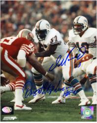 Dan Marino & Dwight Stephenson Autographed 8'' x 10'' vs San Francisco 49ers Photograph - Mounted Memories