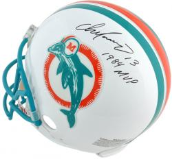 "Dan Marino Miami Dolphins Autographed Pro Line Riddell Authentic Throwback Helmet with ""1984 MVP"" Inscription - Mounted Memories"