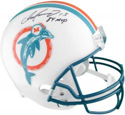 Dan Marino Miami Dolphins Autographed Riddell Replica Throwback Helmet with 84 MVP Inscription - Mounted Memories