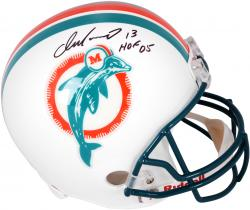 Dan Marino Miami Dolphins Autographed Riddell Replica Throwback Helmet with HOF 05 Inscription - Mounted Memories