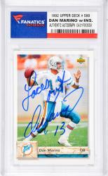 Dan Marino Miami Dolphins Autographed 1996 Topps #390 Card with Laces Out Inscription - Mounted Memories