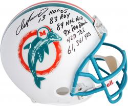 Dan Marino Miami Dolphins Autographed Riddell Pro-Line Authentic Helmet with Multiple Inscriptions - Mounted Memories