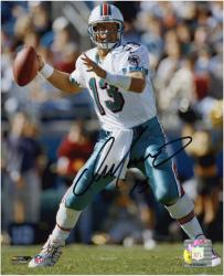 """Dan Marino Miami Dolphins Autographed 8"""" x 10"""" Passing Black Ink Photograph"""