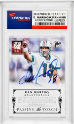 Dan Marino Miami Dolphins & Peyton Manning Denver Broncos Autographed 2013 Panini Elite P.T.T. #1 Card