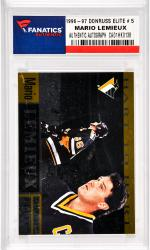 Mario Lemieux Pittsburgh Penguins Autographed 1996-97 Donruss Elite Hart To Hart #5 Card Limited Edition of 1996