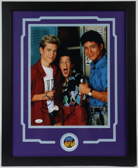 Mario Lopez Mark-Paul Gosselaar & Dustin Diamond Framed Signed 11x14 Photo JSA H